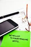 Αναπτύξτε το smartphone apps στοκ φωτογραφίες