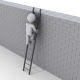 αναρρίχηση της σκάλας πέρα από τον τοίχο προσώπων απεικόνιση αποθεμάτων