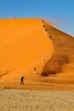 Αναρρίχηση των αμμόλοφων θάλασσας άμμου Namib Στοκ Εικόνες
