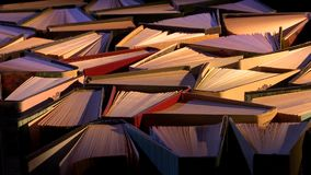 ανασκόπησης βιβλία που απομονώνονται μαύρα πέρα από τον πίνακα απόθεμα βίντεο