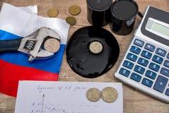 ανασκόπησης διαγραμμάτων ακατέργαστο δολαρίων γυαλιού σημάδι τιμών του πετρελαίου ανάπτυξης ενισχύοντας ρούβλι πληθωρισμού Ρωσικέ Στοκ Φωτογραφίες