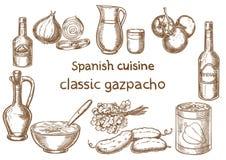 ανασκόπησης κουζίνας εστίασης πορτοκαλιών εκλεκτικό ισπανικό κρασί ρυζιού paella κόκκινο Κλασικά συστατικά gazpacho Στοκ Εικόνα