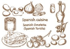 ανασκόπησης κουζίνας εστίασης πορτοκαλιών εκλεκτικό ισπανικό κρασί ρυζιού paella κόκκινο Ισπανικά tortilla omlette συστατικά Στοκ Φωτογραφίες