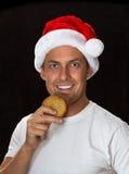 5 ανασκόπησης μαύρα bou Χριστουγέννων χαριτωμένα έτη santa πορτρέτου καπέλων παλαιά Στοκ Εικόνα