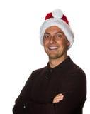 5 ανασκόπησης μαύρα bou Χριστουγέννων χαριτωμένα έτη santa πορτρέτου καπέλων παλαιά Στοκ εικόνα με δικαίωμα ελεύθερης χρήσης