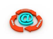 ανασκόπησης μαύρο κείμενο τρία αντανάκλασης ηλεκτρονικού ταχυδρομείου έννοιας διαστατικό στοκ εικόνα