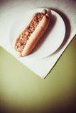 ανασκόπησης σκυλιών γρήγορου φαγητού καυτός τρύγος εγγράφου ετικετών παλαιός Στοκ Φωτογραφίες