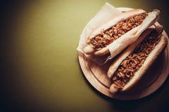 ανασκόπησης σκυλιών γρήγορου φαγητού καυτός τρύγος εγγράφου ετικετών παλαιός Στοκ Εικόνες