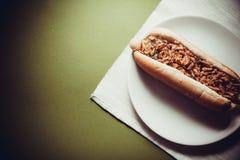 ανασκόπησης σκυλιών γρήγορου φαγητού καυτός τρύγος εγγράφου ετικετών παλαιός Στοκ Φωτογραφία