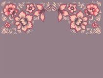ανασκόπηση εθνική Εξωτικά λουλούδια καρτών Μυθικό floral σχέδιο Ρωσική λαϊκή τέχνη Khokhloma Αρχική γαμήλια πρόσκληση Στοκ φωτογραφία με δικαίωμα ελεύθερης χρήσης