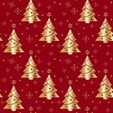 ανασκόπηση εορταστική Άνευ ραφής σχέδιο στο χρυσό χρώμα σε ένα κόκκινο υπόβαθρο Δέντρο ελεύθερη απεικόνιση δικαιώματος