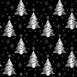 ανασκόπηση εορταστική Άνευ ραφής σχέδιο του ασημιού σε ένα σκοτεινό υπόβαθρο Δέντρο διανυσματική απεικόνιση