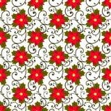 ανασκόπηση εορταστική πρότυπο άνευ ραφής κόκκινο λουλουδιών poinsettia διανυσματική απεικόνιση