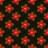 ανασκόπηση εορταστική πρότυπο άνευ ραφής κόκκινο λουλουδιών poinsettia απεικόνιση αποθεμάτων