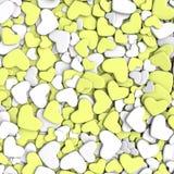 Ανασκόπηση ημέρας βαλεντίνων ` s Άσπρες και κίτρινες καρδιές ομάδας Στοκ φωτογραφία με δικαίωμα ελεύθερης χρήσης