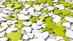 Ανασκόπηση ημέρας βαλεντίνων ` s Άσπρες και κιτρινοπράσινες καρδιές ομάδας Στοκ Φωτογραφία