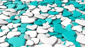 Ανασκόπηση ημέρας βαλεντίνων ` s Άσπρες και μπλε καρδιές ομάδας Στοκ Φωτογραφίες