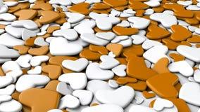 Ανασκόπηση ημέρας βαλεντίνων ` s Άσπρες και πορτοκαλιές καρδιές ομάδας Στοκ φωτογραφία με δικαίωμα ελεύθερης χρήσης