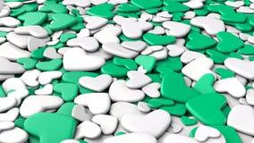 Ανασκόπηση ημέρας βαλεντίνων ` s Άσπρες και πράσινες καρδιές ομάδας Στοκ Εικόνες