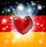 Ανασκόπηση καρδιών σημαιών της Γερμανίας αγάπης Στοκ Φωτογραφίες