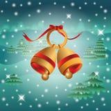 Ανασκόπηση με τα κουδούνια Χριστουγέννων Στοκ Εικόνες