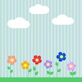 Ανασκόπηση με τα λουλούδια για το λεύκωμα αποκομμάτων διανυσματική απεικόνιση