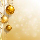 Ανασκόπηση με τα μπιχλιμπίδια Χριστουγέννων Στοκ Εικόνες