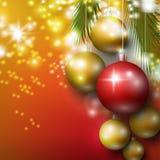 Ανασκόπηση με τα μπιχλιμπίδια Χριστουγέννων Στοκ φωτογραφίες με δικαίωμα ελεύθερης χρήσης
