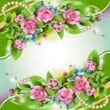 Ανασκόπηση με τα ρόδινα τριαντάφυλλα διανυσματική απεικόνιση