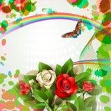 Ανασκόπηση με τα όμορφες τριαντάφυλλα και την πεταλούδα Στοκ εικόνες με δικαίωμα ελεύθερης χρήσης