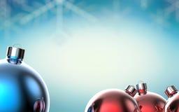 Ανασκόπηση με τις σφαίρες Χριστουγέννων τρισδιάστατη απεικόνιση απεικόνιση αποθεμάτων