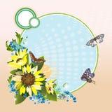Ανασκόπηση με τους ηλίανθους και τις πεταλούδες ελεύθερη απεικόνιση δικαιώματος