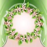 Ανασκόπηση με το στεφάνι λουλουδιών απεικόνιση αποθεμάτων