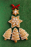 Ανασκόπηση μπισκότων πιπεροριζών Χριστουγέννων. Στοκ φωτογραφία με δικαίωμα ελεύθερης χρήσης