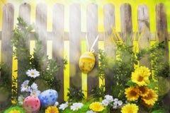 Ανασκόπηση Πάσχας τέχνης με τη φραγή, αυγά, λουλούδια άνοιξη στοκ εικόνα με δικαίωμα ελεύθερης χρήσης