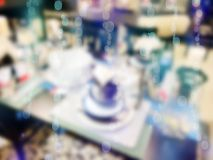 ανασκόπηση που θολώνεται αφηρημένη Εσωτερικό κατάστημα επίπλων, bokeh Στοκ Φωτογραφία
