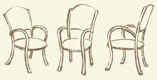 ανασκόπηση που σύρει το floral διάνυσμα χλόης Ξύλινες καρέκλες με armrests Στοκ Εικόνα