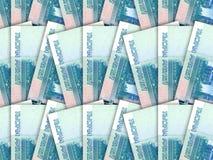 Ανασκόπηση του σωρού 1000 χρημάτων ρωσικοί λογαριασμοί ρουβλιών Στοκ Εικόνα