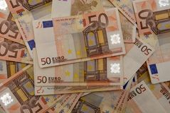 Ανασκόπηση των ευρο- λογαριασμών Στοκ Εικόνα