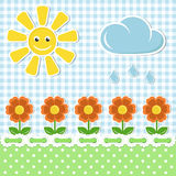 Ανασκόπηση υφάσματος άνοιξη με τον ήλιο και τα λουλούδια διανυσματική απεικόνιση