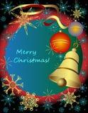 Ανασκόπηση Χαρούμενα Χριστούγεννας με τις σφαίρες και το κουδούνι Στοκ Εικόνες