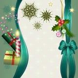 Ανασκόπηση Χαρούμενα Χριστούγεννας με το κερί και τα δώρα Στοκ εικόνα με δικαίωμα ελεύθερης χρήσης