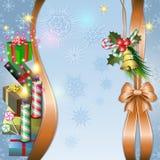 Ανασκόπηση Χαρούμενα Χριστούγεννας με το κερί και το τόξο Στοκ φωτογραφίες με δικαίωμα ελεύθερης χρήσης
