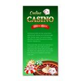 Ανασκόπηση χαρτοπαικτικών λεσχών Κάθετα έμβλημα, ιπτάμενο, φυλλάδιο σε ένα θέμα χαρτοπαικτικών λεσχών με τη ρόδα ρουλετών, κάρτες Στοκ Φωτογραφίες