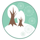 Ανασκόπηση χειμερινών άσπρη δέντρων Στοκ Εικόνες