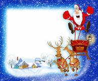 Ανασκόπηση Χριστουγέννων με Άγιο Βασίλη διανυσματική απεικόνιση
