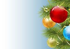 Ανασκόπηση Χριστουγέννων με τις σφαίρες διάνυσμα Στοκ Φωτογραφίες