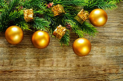 Ανασκόπηση Χριστουγέννων με τις σφαίρες Στοκ Φωτογραφία