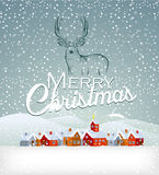 Ανασκόπηση Χριστουγέννων με τον τάρανδο Στοκ Φωτογραφίες