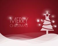 Ανασκόπηση Χριστουγέννων με το χριστουγεννιάτικο δέντρο, διανυσματική απεικόνιση Στοκ Εικόνα